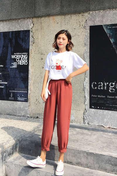 西西里复古印花短袖T恤女+西西里休闲镂空九分灯笼裤